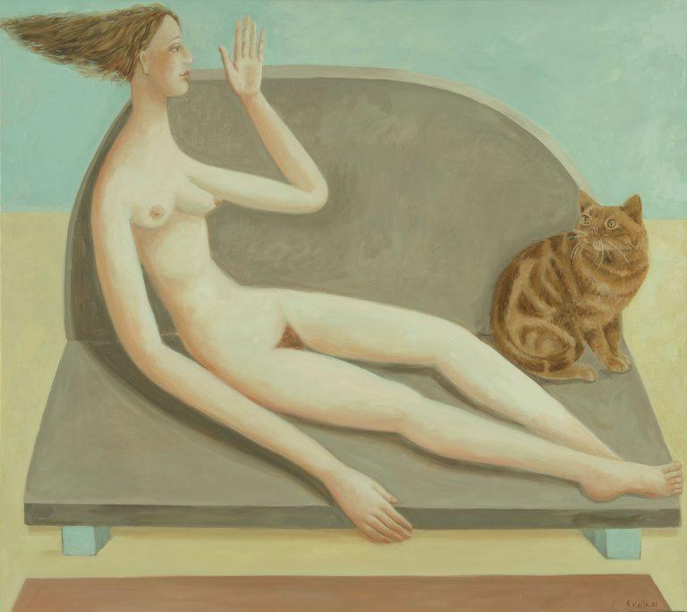 0351 'Donna sul divano con gatto' Olio su tela 80x90 2020